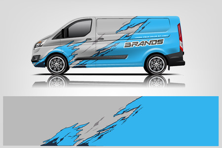 Van wrap design. Wrap, sticker and decal design for company. Vector format - Vector Çizim