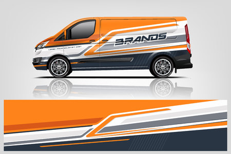 Van wrap design. Wrap, sticker and decal design for company. Vector format - Vector Ilustração