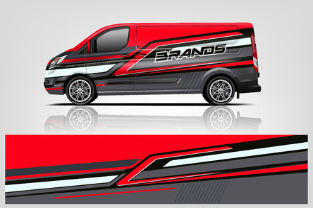Van wrap design. Wrap, sticker and decal design for company. Vector format - Vector  イラスト・ベクター素材