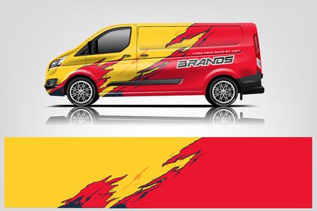 Design avvolgente per furgone. Design avvolgente, adesivo e decalcomania per l'azienda. Formato vettoriale - Vector Vettoriali