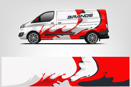 Van wrap design. Wrap, sticker and decal design for company. Vector format - Vector Vectores