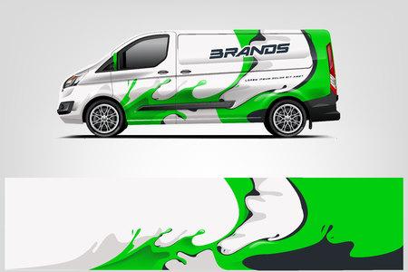 Van wrap design. Wrap, sticker and decal design for company. Vector format - Vector Illusztráció