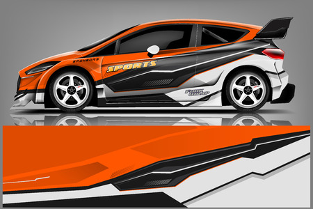 Car decal wrap design vector. Graphic abstract stripe racing background kit designs for vehicle, race car, rally, adventure and livery - Vector 免版税图像 - 121082095