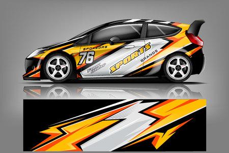 Wektor projekt owijania kalkomanii samochodowej. Graficzne abstrakcyjne wzory zestawów wyścigowych w paski dla pojazdów, samochodów wyścigowych, rajdów, przygód i barw - Vector