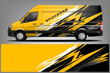 Van Wrap-Lackierung-Design. Fertiges Druckverpackungsdesign für Van. - Vektor