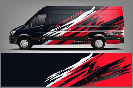 Design con livrea Van Wrap. Pronto per il design dell'involucro di stampa per Van. - Vettore Vettoriali