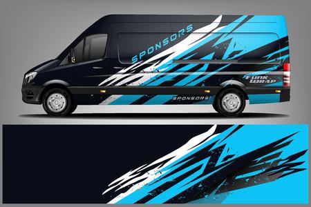 Van Wrap Livery design. Ready print wrap design for Van. - Vector