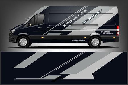 Van Wrap Livery deaign. Diseño de envoltura de impresión listo para Van. - Vector