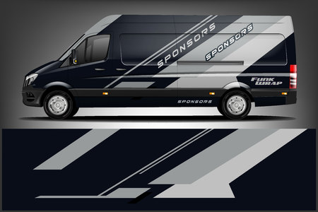 Van Wrap Livery deaign. Ready print wrap design for Van. - Vector Çizim