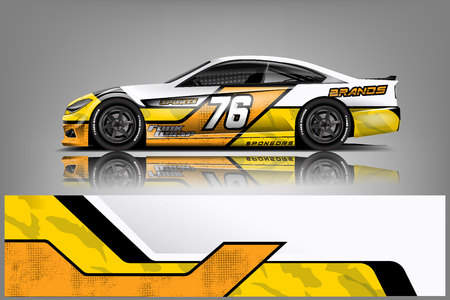 Car decal wrap design vector. Graphic abstract stripe racing background kit designs for vehicle, race car, rally, adventure and livery - Vector Stockfoto - 121082608