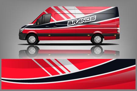 Van Wrap-Lackierung-Design. Fertiges Druckverpackungsdesign für Van. - Vektor Vektorgrafik
