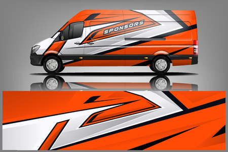 Van Wrap Livery design. Ready print wrap design for Van. - Vector Banque d'images - 121083085