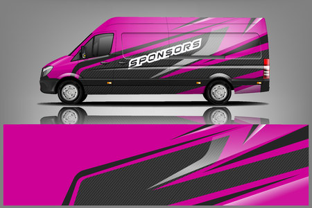 Van Wrap Livery design. Ready print wrap design for Van. - Vector