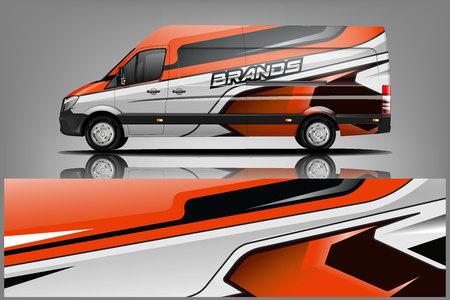 Conception de la livrée Van Wrap. Conception d'emballage d'impression prête pour Van. - Vecteur