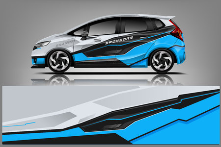 Car decal wrap design vector. Graphic abstract stripe racing background kit designs for vehicle, Illustration