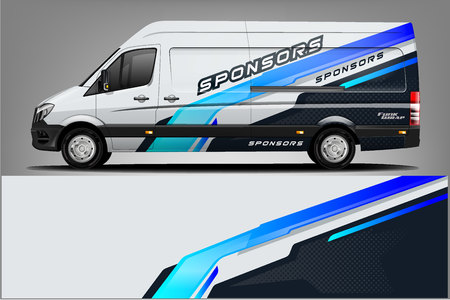 Van car Wrap design for company Ilustracja