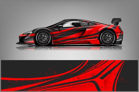 Auto-Aufkleber-Wrap-Design-Vektor. Grafische abstrakte Streifen-Rennhintergrund-Kit-Designs für Fahrzeug, Rennwagen, Rallye, Abenteuer und Lackierung Vektorgrafik