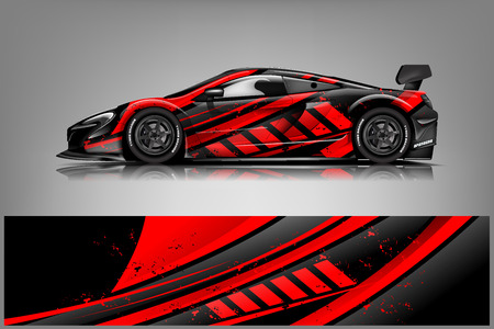 Car decal wrap design vector. Graphic abstract stripe racing background kit designs for vehicle, race car, rally, adventure and livery - Vector Vector Illustratie