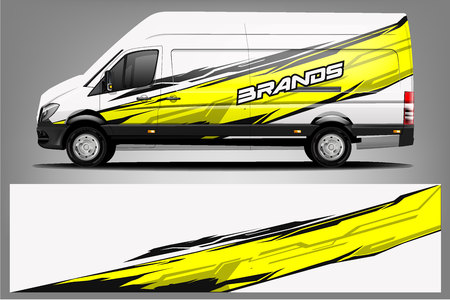 Van Wrap Livery design. Ready print wrap design for Van. - Vector Stock Vector - 123421286