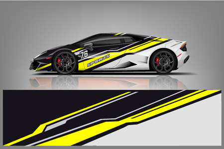 Sport car racing wrap design. vector design. - Vector Фото со стока - 123392913