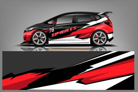 Car decal wrap design vector. Graphic abstract stripe racing background kit designs for vehicle, race car, rally, adventure and livery - Vector Vetores
