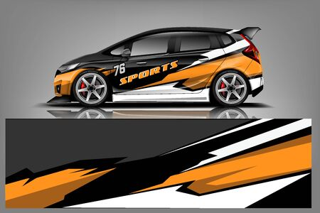 Vector de diseño de envoltura de calcomanía de coche. Diseños de kit de fondo de carreras de rayas abstractas gráficas para vehículos, autos de carreras, rally, aventuras y librea - Vector Ilustración de vector