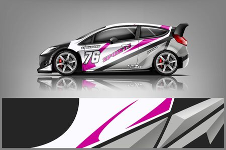 Car decal wrap design vector. Graphic abstract stripe racing background kit designs for vehicle, race car, rally, adventure and livery - Vector