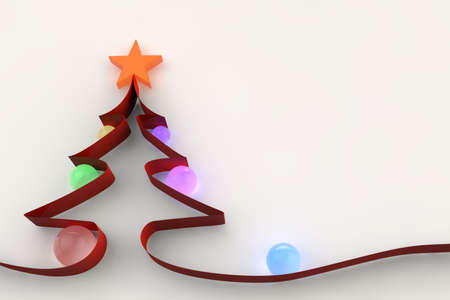 Red Christmas Ribbon with glass baubles