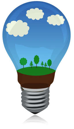 Green energy concept with landscapes inside Stok Fotoğraf