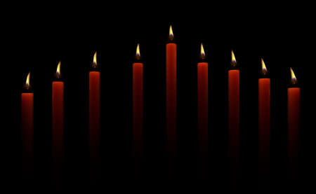 Hanukkah greeting card with candles on black background Stok Fotoğraf