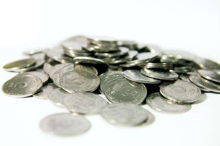 coins on white background Stok Fotoğraf