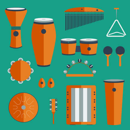 bongos: different kinds of percussion on a colored background flat style Illustration