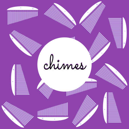 chimes: percussion chimes on colored background with text flat style Illustration
