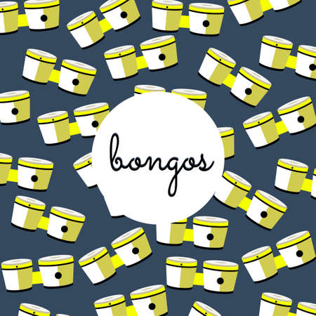 bongos: percussion bongos on colored background with text flat style