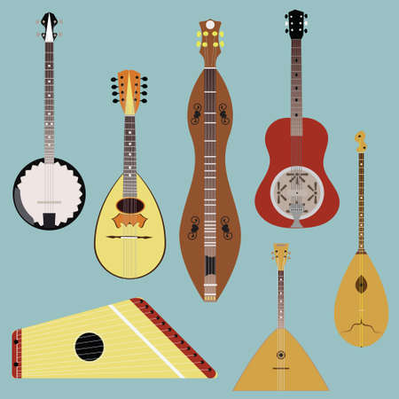 Ethnic music instruments set. Musical instrument silhouette on white background.