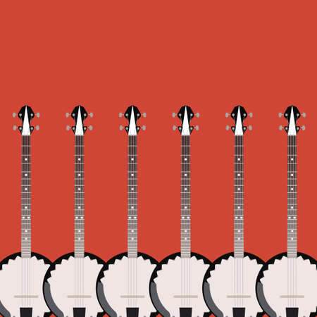 bluegrass: folk string instrument banjo on a colored background flat style