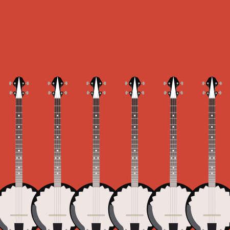 the resonator: folk string instrument banjo on a colored background flat style