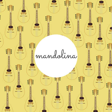 bluegrass: folk string instrument mandalina on a colored background flat style