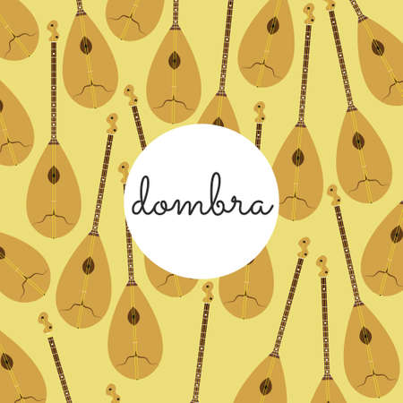 folk string instrument dombra on a colored background flat style