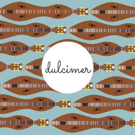 resonator: folk string instrument dulcimer on a colored background flat style Illustration