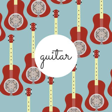 resonator: folk string instrument resonance guitar on a colored background flat style Illustration