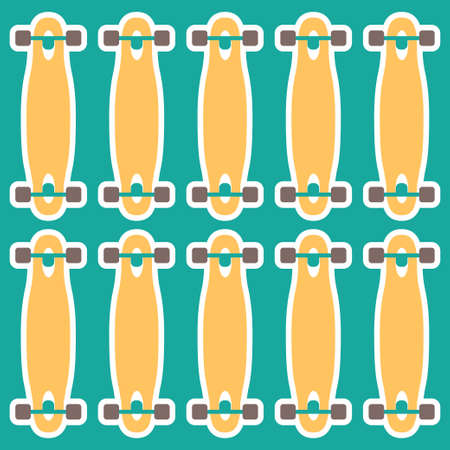 decks: Vector set of stickers with longboards. Different shapes of decks. I love longboard Illustration