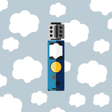 e cig: electronic cigarette with cloud flat style