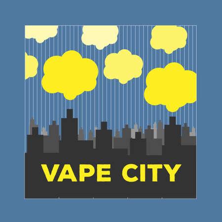 vaping city electronic cigarette flat style Illustration