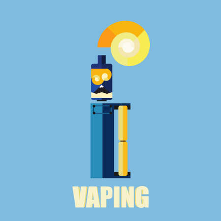 e cigarette: electronic cigarette with smoke on colored background flat style