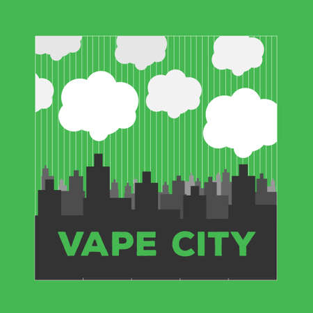 vaporized: vaping city electronic cigarette flat style Illustration