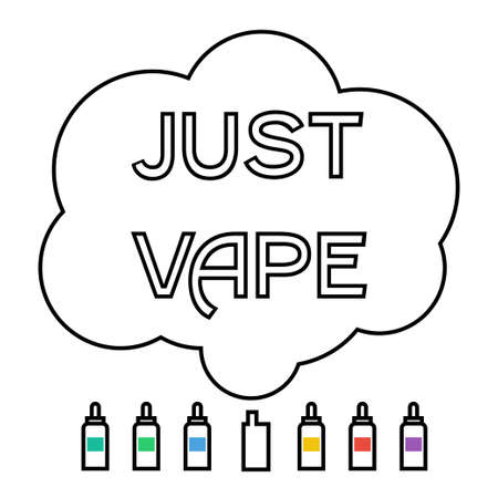 e cigarette: electronic cigarette with liquid and cloud.flat style. vaping Illustration