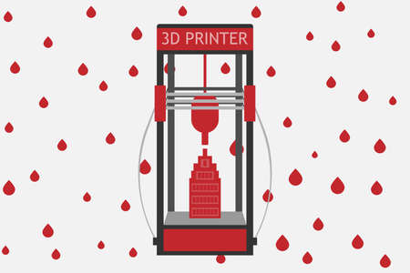 3d printer: 3d printer for the home and production on colored background. flat style