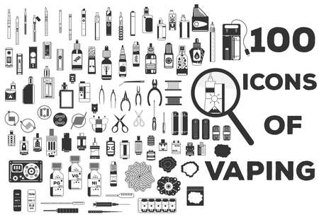 Vape vector illustration of vaporizer and accessories Çizim