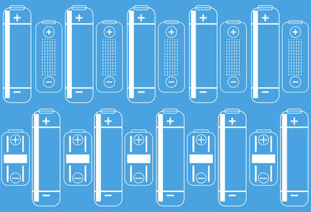 battery outlines icon on a blue colored background. energy level